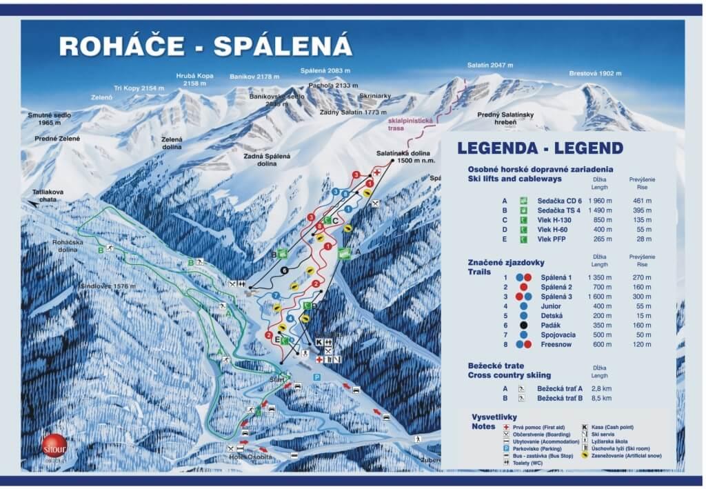 Narty na Słowacji, narty w Tatrach, narty z Katowic - mapa ośrodka Rohacze, Mapa Rohace